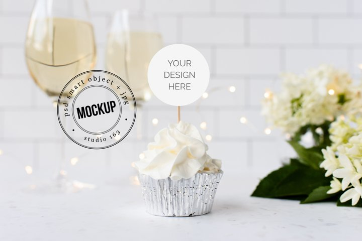 Cupcake Topper Mockup | JPG and PSD Smart Object | Wedding