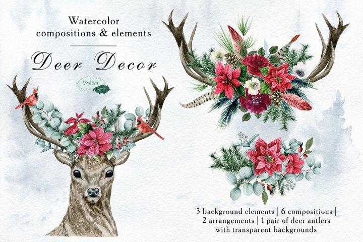 Watercolor Christmas Deer compositions, Floral arrangements