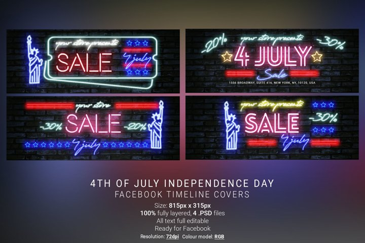 4th Of July Neon Facebook Cover