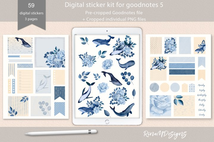 Digital planner stickers for Goodnotes. Whales and roses.