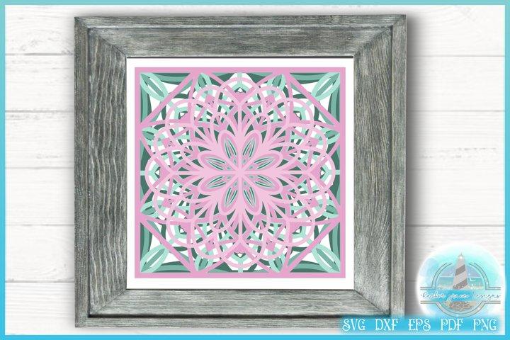 3D SVG Square Floral Design | 3D Floral Mandala |Stacked SVG