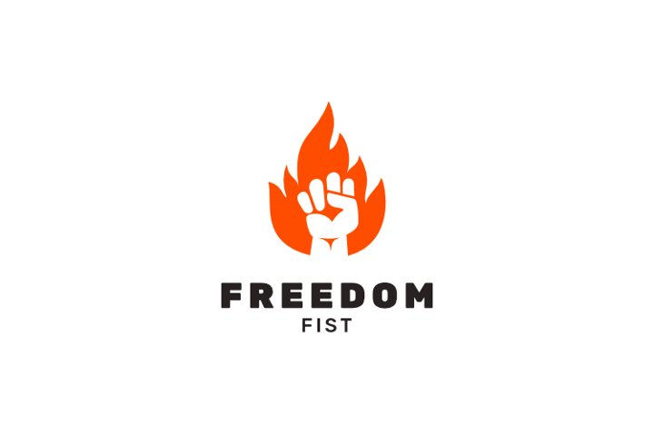 Fist hand punch fire flame logo design inspiration