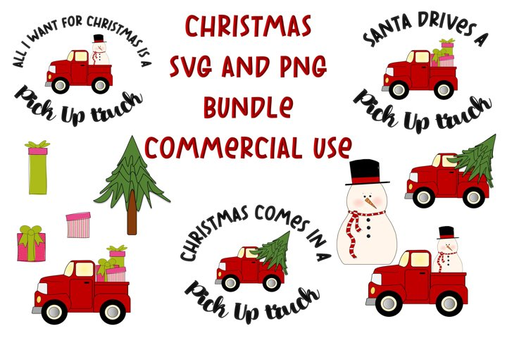 Christmas trucks SVG and Clipart Bundle