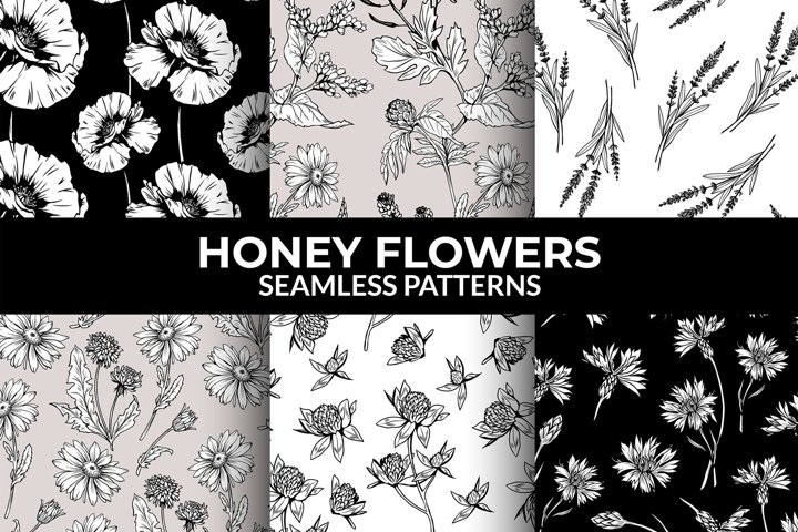 Line Art Seamless Pattern, Modern Clipart. Daisy, Lavender