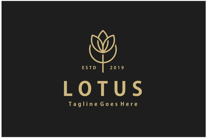 Nature flower lotus line art gold color logo design vector