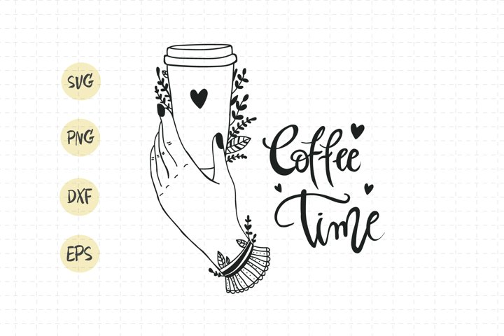 Coffee to go svg / coffee cup flower / coffee time lettering