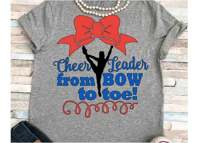 Cheer svg SVG DXF JPEG Silhouette Cameo Cricut Cheerleader svg iron on Cheerleader shirt Cheer team svg Bow to toe svg
