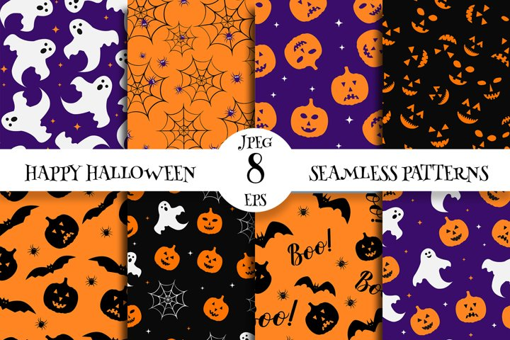 Cute Halloween Seamless Patterns Digital Paper