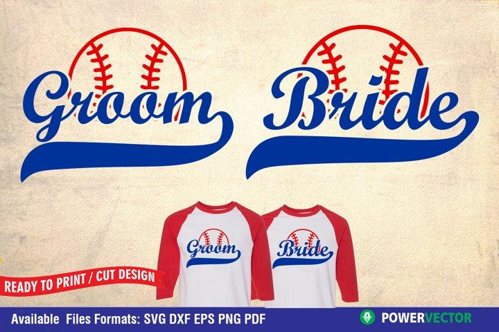 Bride and Groom SVG| Baseball Theme Wedding Shirts
