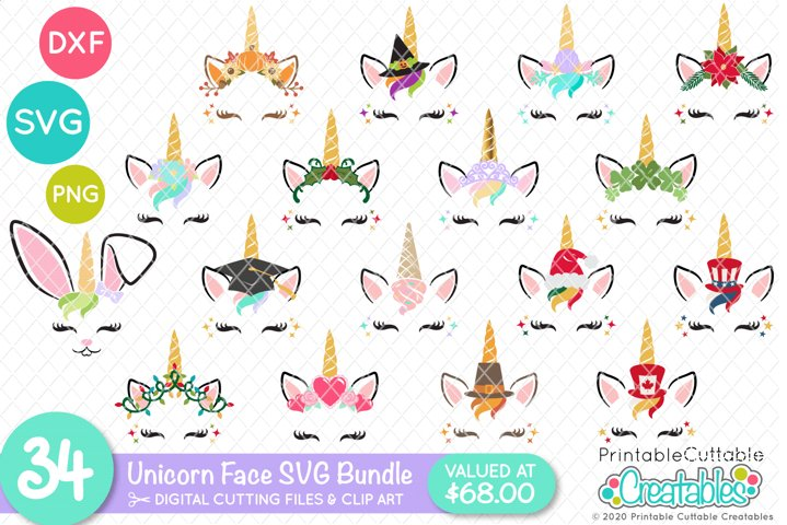 SVG Bundle - 34 Unicorn Face SVG - Unicorn Eyelashes SVG