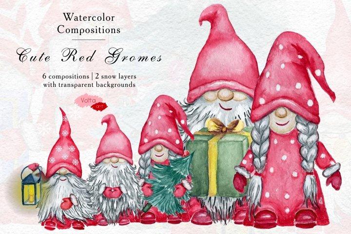 Christmas Watercolor Red Gnomes, Scandinavian Dwarves, Yule