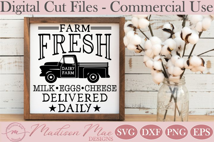 Dairy Farm Sign SVG, Farm Fresh Milk SVG, Vintage Truck SVG