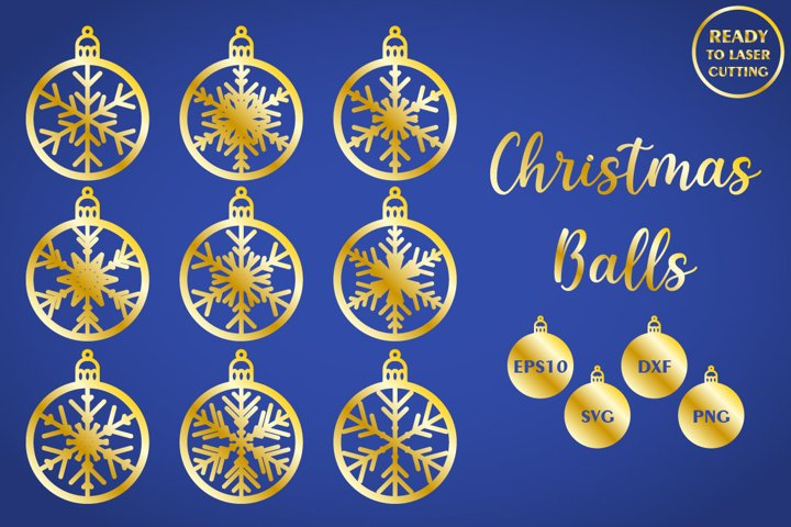 Bundle of Christmas Balls, CNC laser cut template SVG DXF