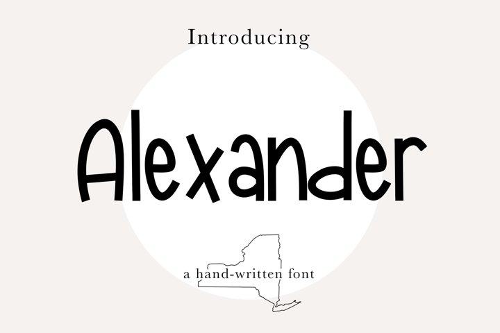 ALEXANDER FONT- Fun, Cute, Quirky, Handwritten Font