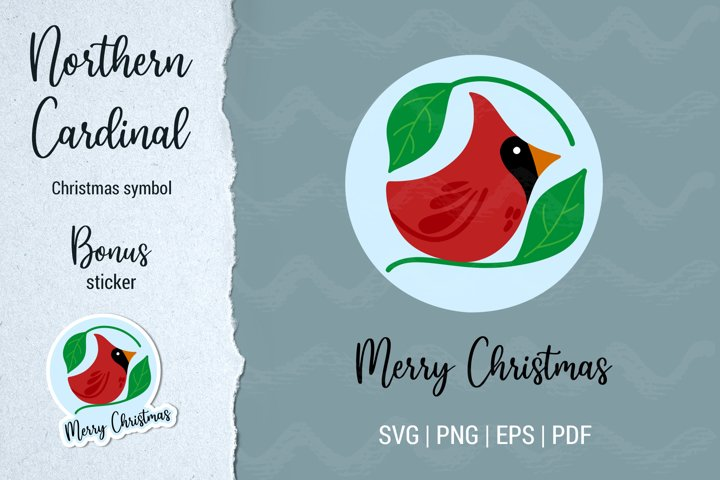 Northern Cardinal Bird| Christmas symbol |Cutting file SVG