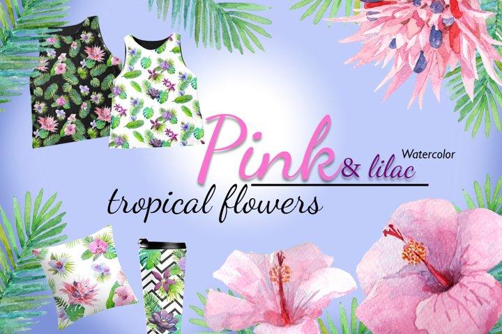 Watercolor tropical flowers.
