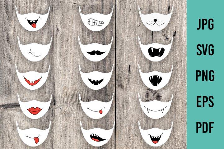 Face mask Svg. 15 Smiling Cartoon Mouths Face Mask.