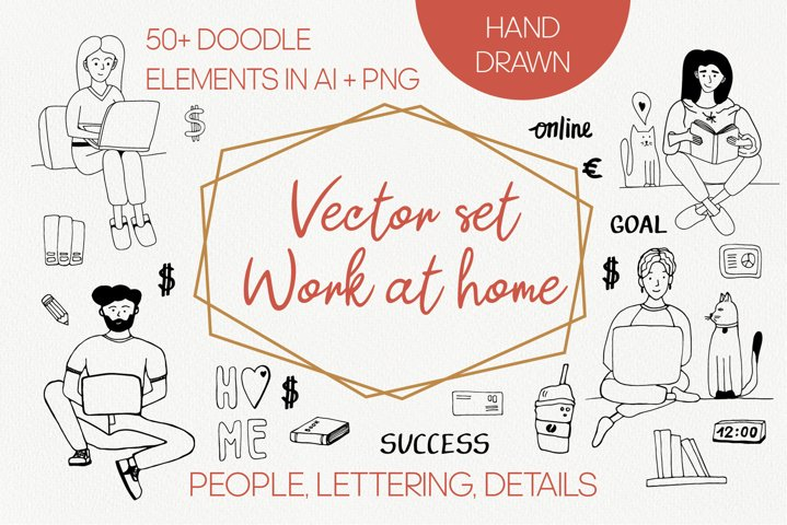 Vector doodle clipart Work at home. Hand drawn work clipart