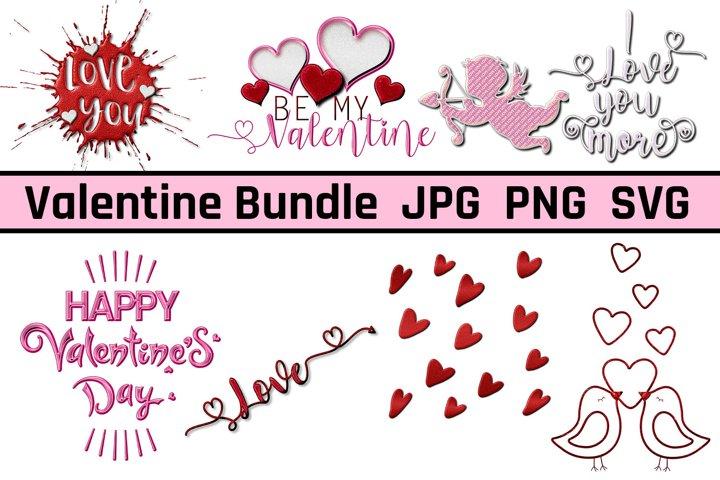 Valentines Day JPG, PNG, SVG Clipart, Wordart Bundle
