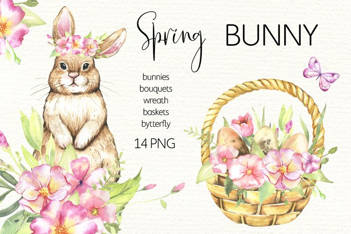 Watercolor Easter Bunny Clipart PNG