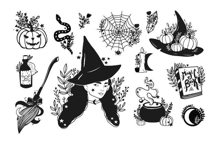 Witch clipart / mystic, magic,esoteric art .magical clipartW