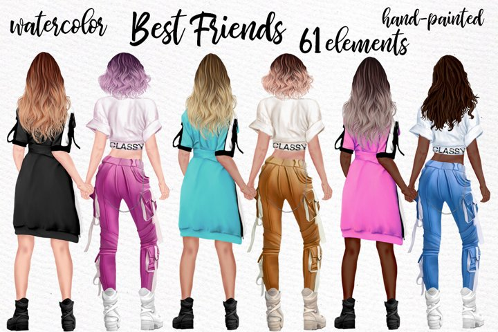 Girls clipart Best friend clipart Ombre Hairstyles BFF Mug