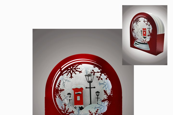 3D Snow Globe Classic Red Letter Box greetings card