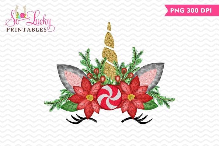 Christmas unicorn watercolor printable sublimation design