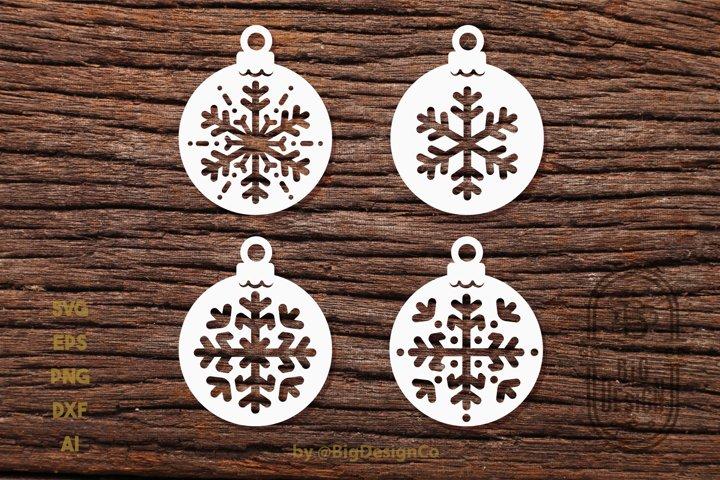 Christmas Decorations SVG Bundle - Snowflakes Globes