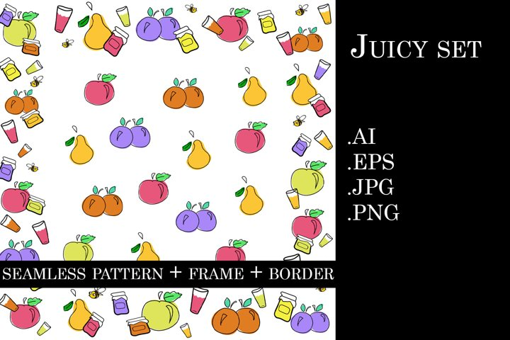 Colorful juicy set doodle vector illustrations