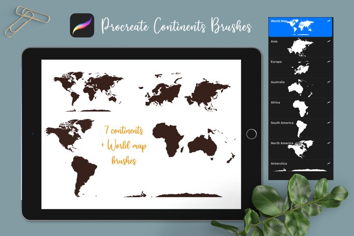 World map stamp brushes | Procreate continents shapes