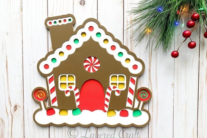 3D Layered Christmas Gingerbread House Digital Cut File