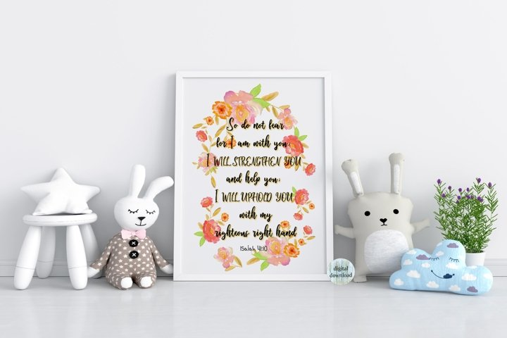 Isaiah 41 10 printable Bible verse wall art nursery