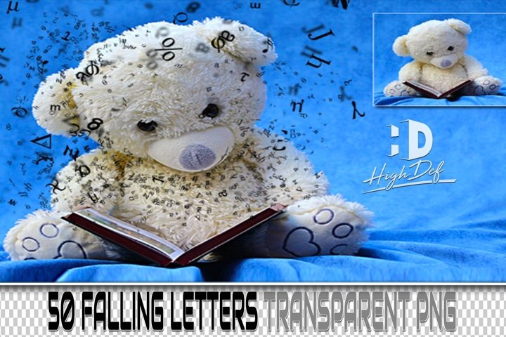 50 FALLING LETTERS PNG PHOTOSHOP OVERLAY BACKDROP BACKGROUND