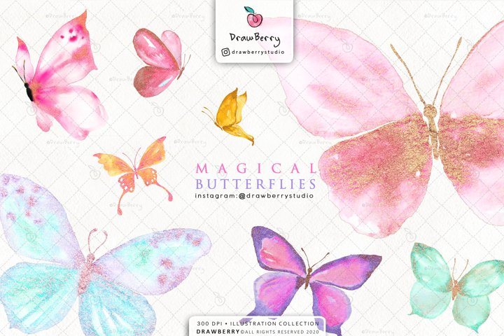 Magical Glitter Butterflies Clipart