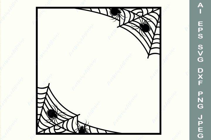 Spider web frame svg, Square halloween frame svg