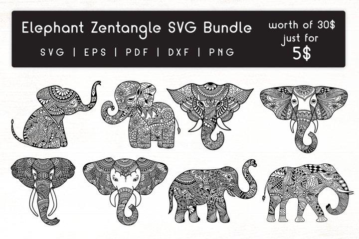 Elephant Zentangle - Doodle art Elephant SVG Bundle
