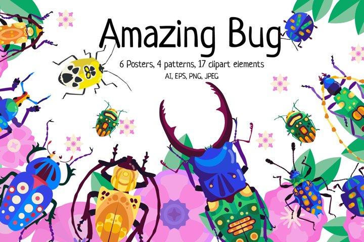 Bugs vector clipart set
