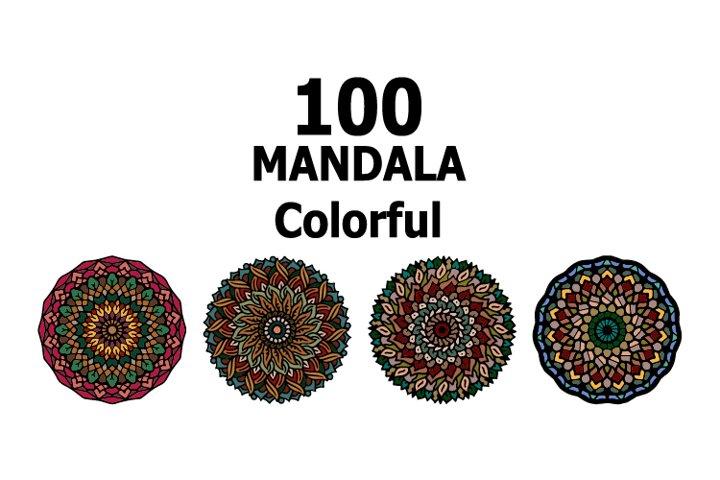 100 bundle mandala colorful