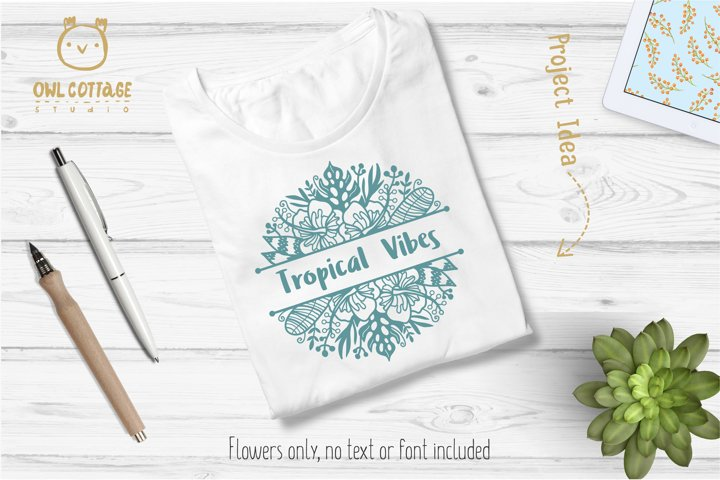 Tropical Border SVG, Luau Decor SVG File, Wedding Flowers example 4