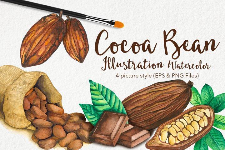 Cocoa Bean & Fruit Watercolor