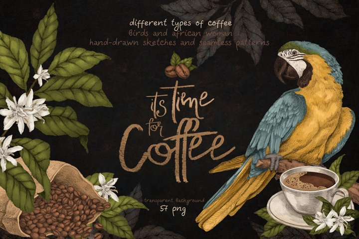 Time for Coffee. Illustrations set