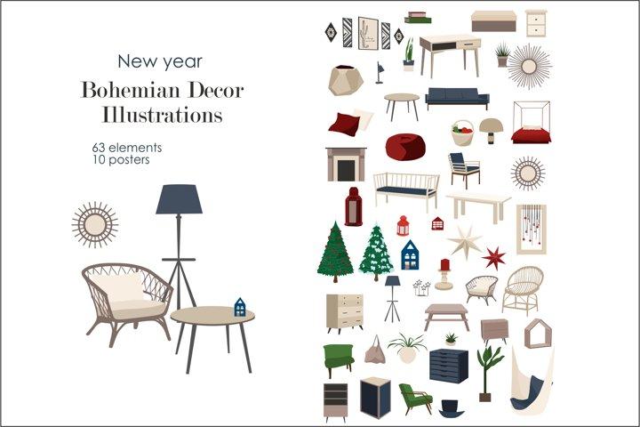 new year/ Christmas - Bohemian Decor Illustrations