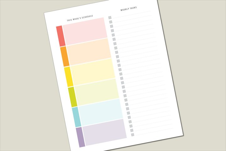 Weekly/Daily Planner Sheet -- Rainbow with To-do list