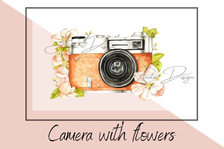Retro camera with watercolor flowers clipart