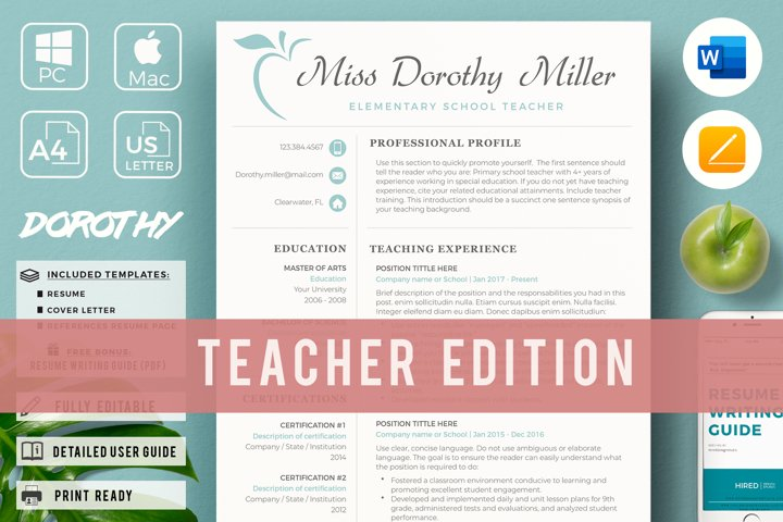 Elementary School Teacher Resume Template for Word and pages
