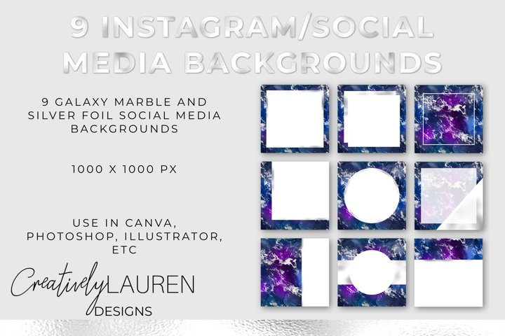 Galaxy Marble and Silver Foil Instagram Templates