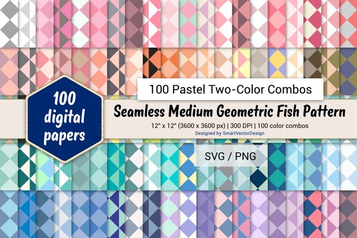 Geometric Fish Tessellation - 100 Pastel Two-Color Combos