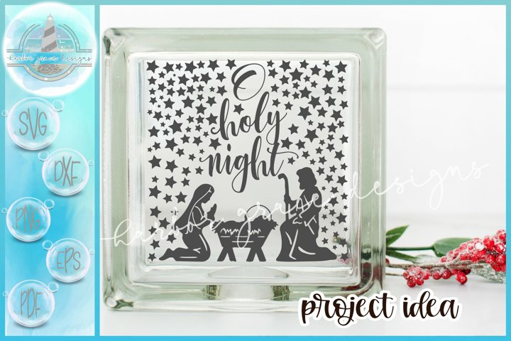 SVG Oh Holy Night Nativity Scene Christmas Glass Block SVG