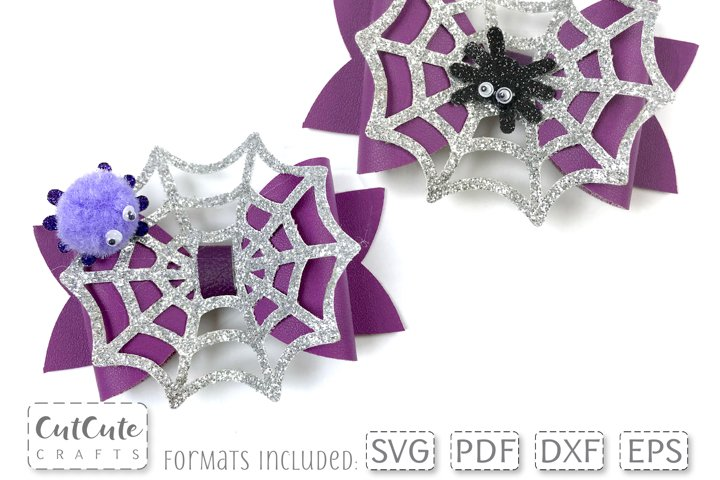Spider Web Hair Bow SVG cut files, Bow template